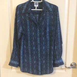 Diane Gilman Blouse Long Sleeves Blue Print Large